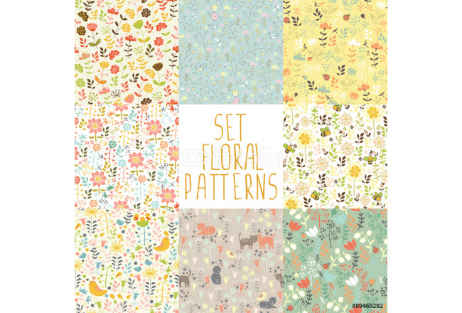 Bild auf Leinwand 8 seamless patterns with hand painted flowers 64239