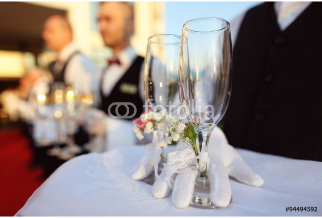 Bridal couple toasting glasses of champagne 64239