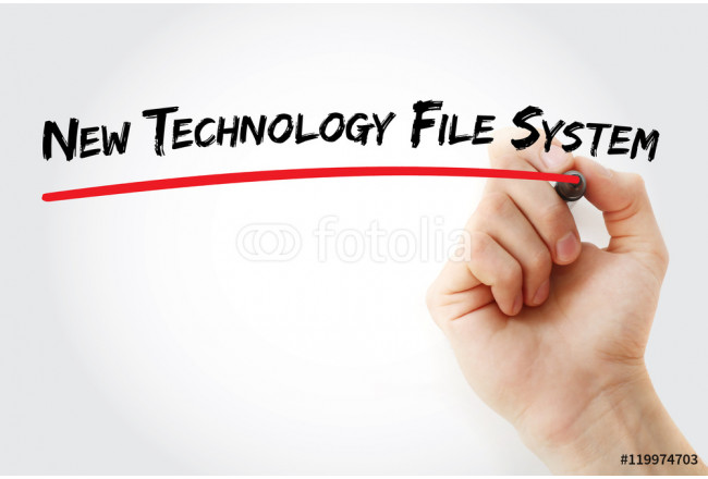 Hand writing New Technology File System with marker, concept background 64239