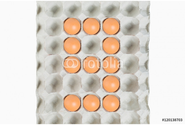 Number ninemade of Easter Eggs in the paper package tray Isolate 64239