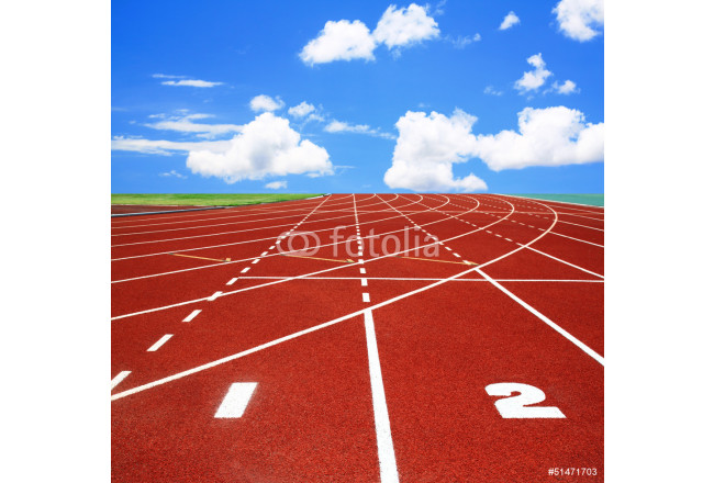 Running track with lanes over sky and clouds 64239