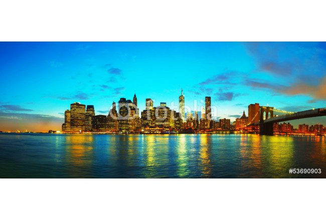 Painting New York City cityscape at sunset 64239