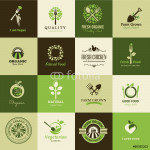 Set of icons for organic food and restaurants 64239