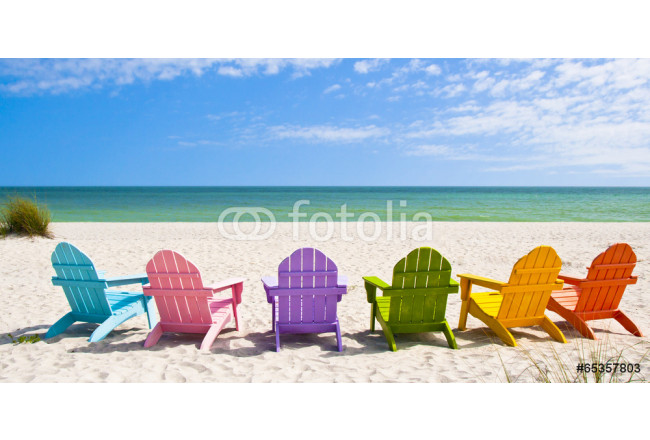 Adirondack Beach Chairs on a Sun Beach in front of a Holiday Vac 64239
