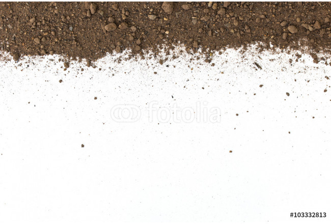 Dirty earth on white background. Natural soil texture 64239