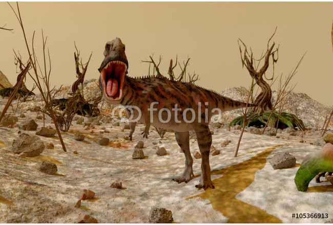 Dinosaur. Prehistoric Jungle, landscape, valley with Dinosaurs 64239