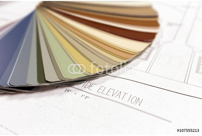 Architectural drawings on old paper. xerox. Color pallete wheel. 64239