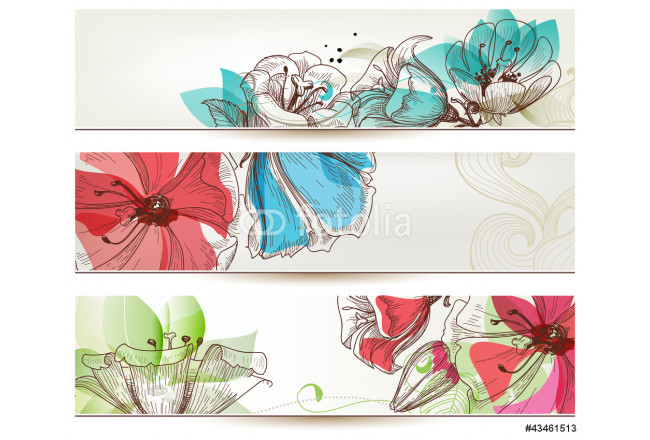 Floral banners vector 64239