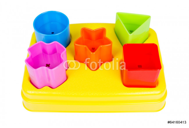 Shape sorter toy with various coloured blocks isolated 64239