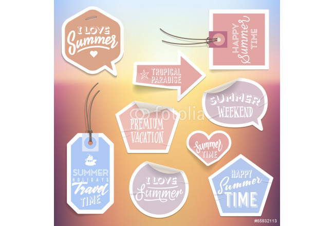 Summer holiday vacation stickers and labels 64239