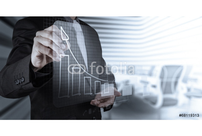 businessman hand working with new modern computer and business s 64239