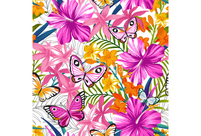 Seamless exotic pattern with tropical leaves, flowers and butterflies. Blooming jungle. Vector illustration. 64239