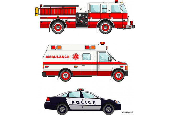 Fire truck, police and ambulance cars isolated on white 64239