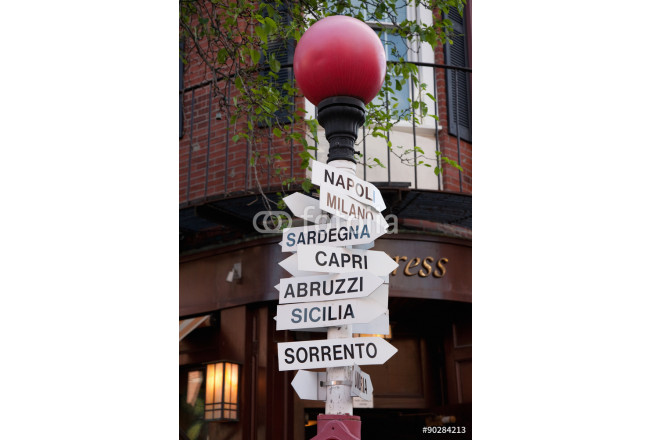 Road signs pointing to famous Italian towns and cities, historic North End, the Italian section of Boston Ma.. 64239