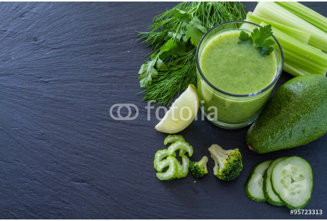 Green smoothie and ingredients 64239
