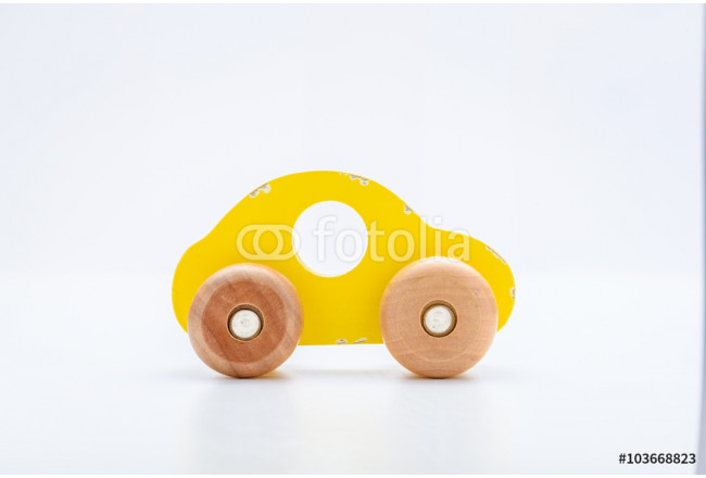 Yellow Wooden Toy Car 64239