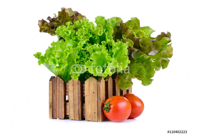 green and red lettuce in a wooden crate and Tomato isolated on w 64239