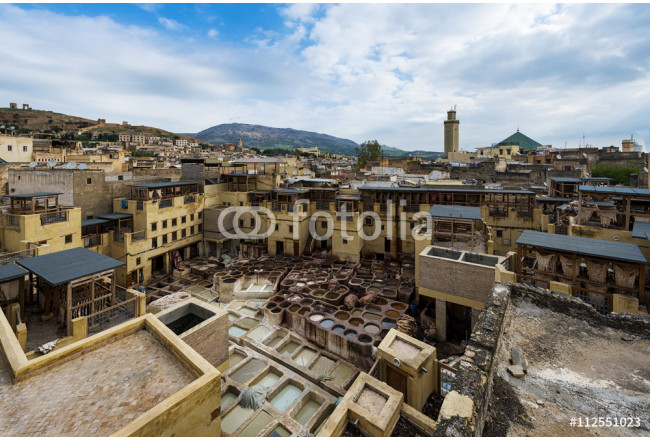 Obraz nowoczesny View of a tannery in the city of Fez, in Morocco 64239