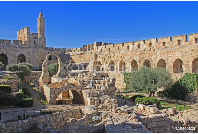 The Jerusalem Citadel or Tower of David, with the archaeological finds in its courtyard and the Ottoman minaret, as it appears today 64239