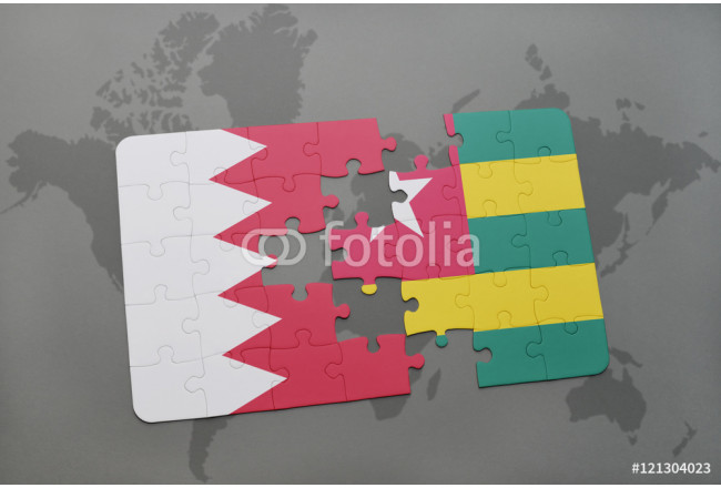 puzzle with the national flag of bahrain and togo on a world map background. 64239