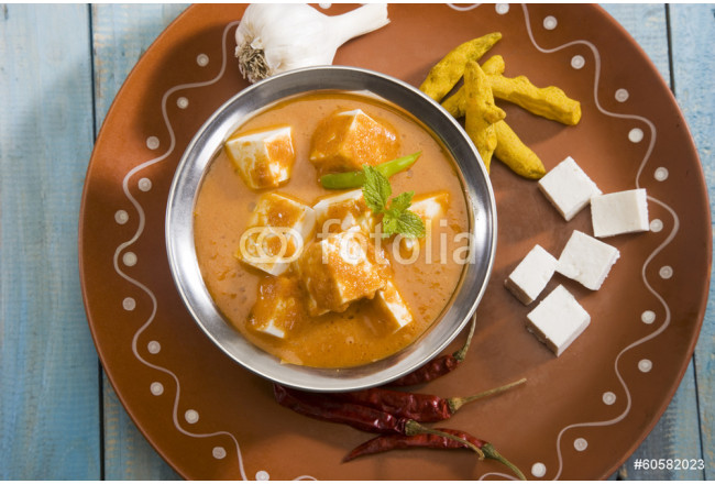 Cuadro decorativo Shahi Paneer or Cheese Cooked with Curry, Indian Dish 64239