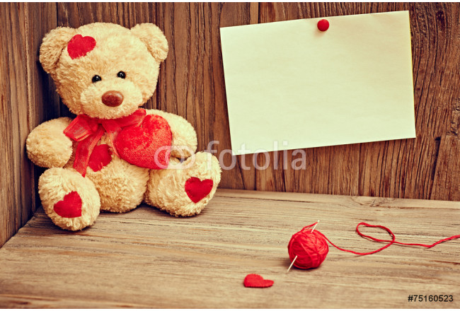 Valentines Day. Teddy Bear Loving with hearts. Love. Retro. 64239