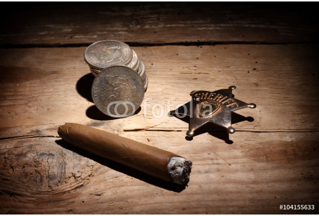Cigar, badge  and coins 64239
