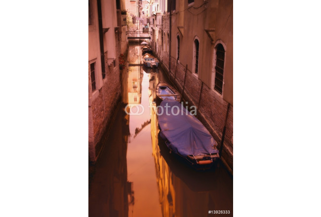 Gondolas in a residential canal side street in Venice Italy Europe 64239