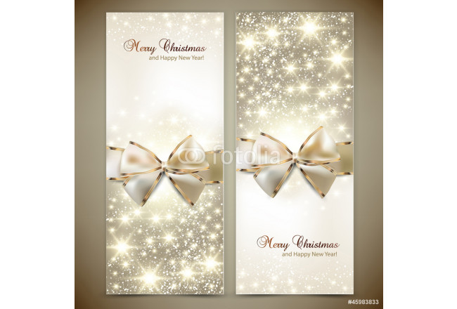 Bild auf Leinwand Greeting cards with white bows and copy space. Vector illustrati 64239