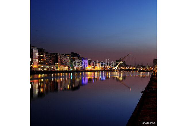 South bank of the river Liffey at Dublin City Center at night 64239
