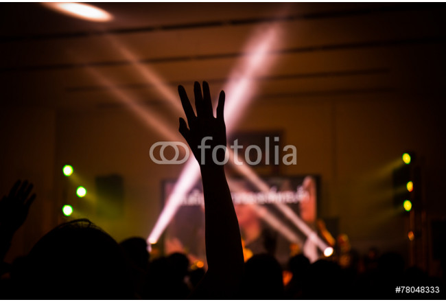 Bild auf Leinwand christian music concert with raised hand 64239