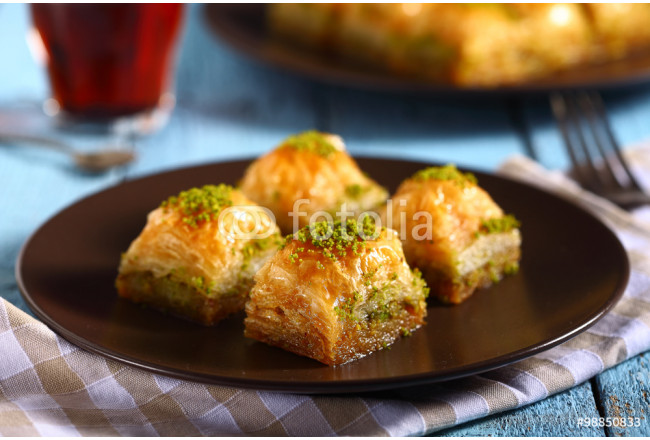 turkish traditional baklava with tea 64239