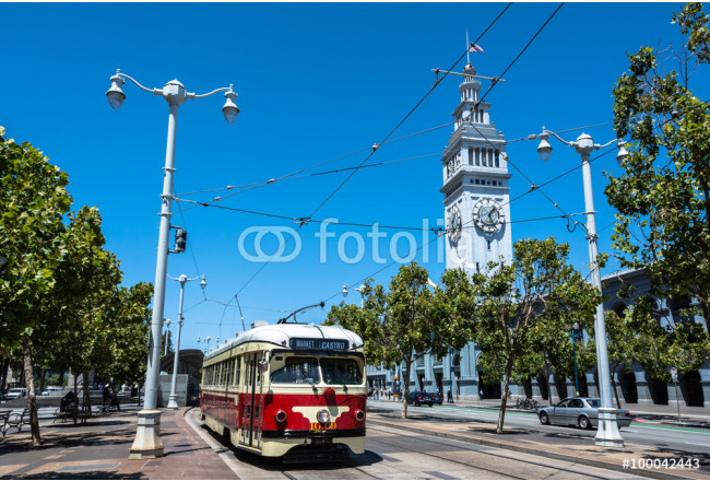 The red beige tram in  San Francisco 64239