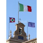 flags of Italian State on the Quirinal Hill, where houses the Pr 64239