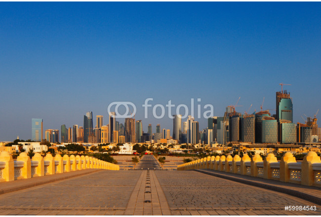 Art painting West Bay City skyline as viewed from The Grand Mosque Doha Qatar 64239