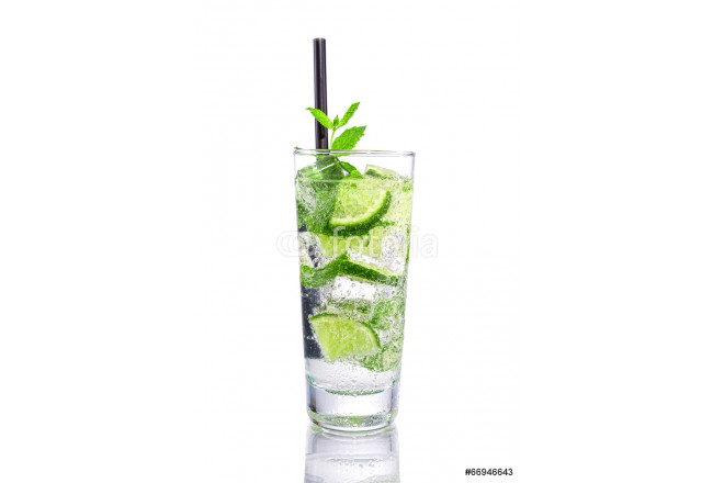 Mojito with lime and mint on isolated white 64239