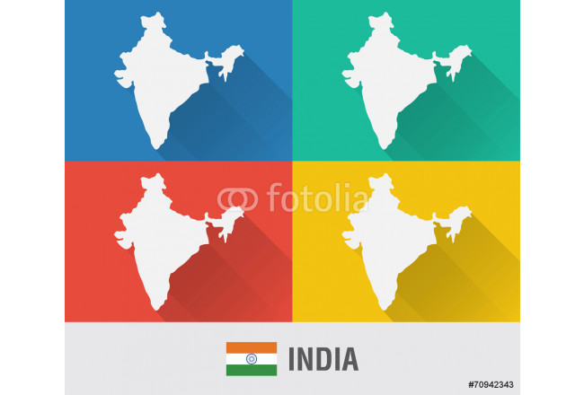India world map in flat style with 4 colors. 64239