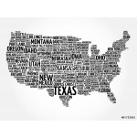 USA Map word cloud with most important cities 64239