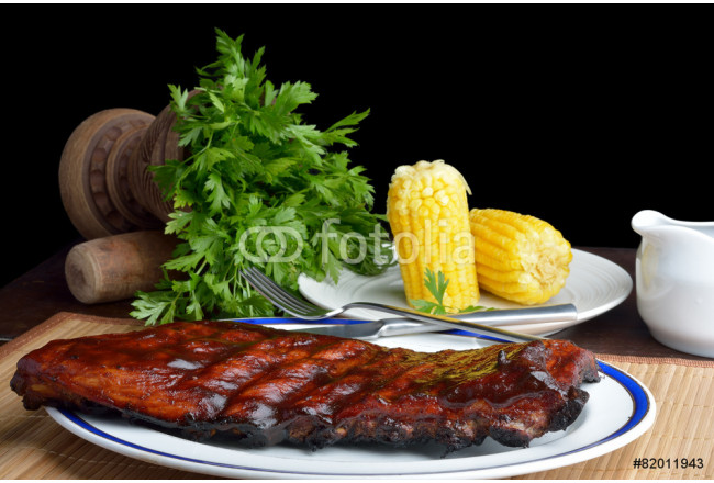 Pork ribs back with corn on the cob 64239