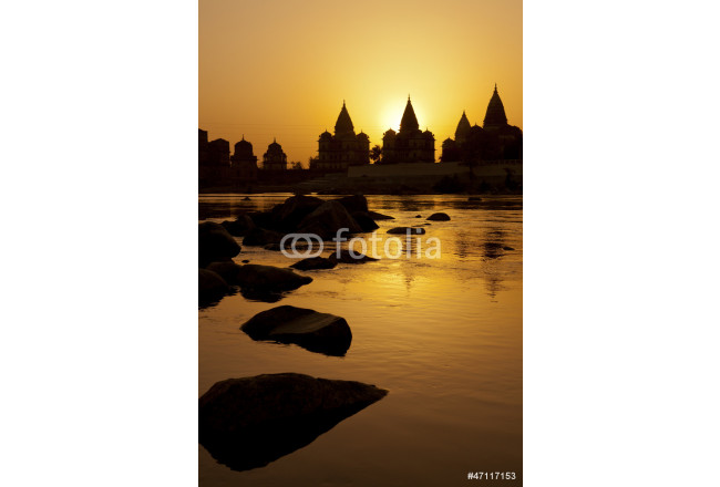 Sunset silhouette of Chhatris by the river in Orchha 64239
