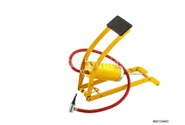 Yellow foot air pump isolated on white background 64239
