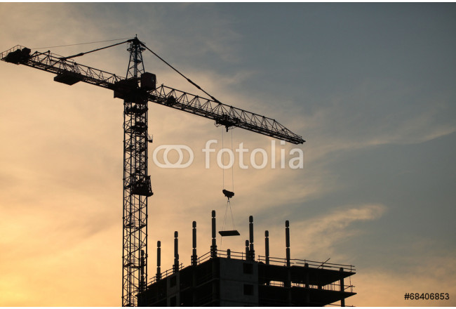 construction crane near the building on sunset background 64239