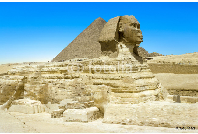 full profile of the Great Sphinx with the pyramid in the backgr 64239