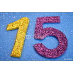 Number fifteen yellow purple color over blue background. Anniver 64239