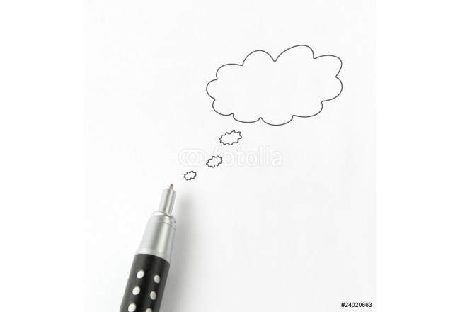 talk bubble with pen isolated. 64239