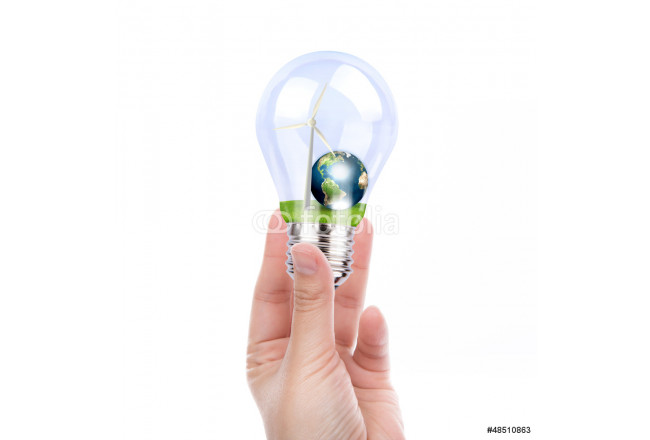 Hand holding light bulb with wind turbine and earth inside (Elem 64239