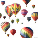 Colorful hot-air balloons floating against white 64239