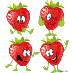 strawberry cartoon with hands isolated on white background 64239