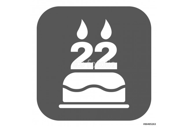 Cuadro decorativo The birthday cake with candles in the form of number 22 icon. Birthday symbol. Flat 64239
