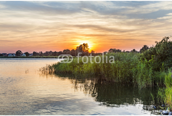 sunset in Zinnowitz with   backwater 64239